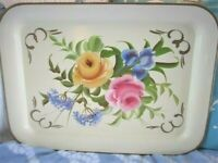 Vintage Iris Hydrangea Pink & Yellow Roses Hand Painted Off-White Tole Tray