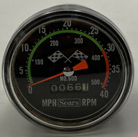 Sears Bicycle Speedometer No. 600 Checkered Flag Made In Japan Vintage MPH RPM