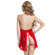 SEXY Babydoll LINGERIE Red with Black Lace Bust over  Red Skirt Ruffled RBM