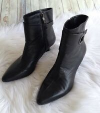 Anne Klien iflex Black Leather Darien Bootie Boots Shoes Zip Up Pointed Toe 7 M