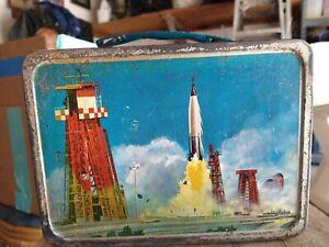 John Glenn in orbit vintage metal lunch box Thermos outer space rocket ship 1963