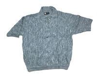 3D Textured S/S Blue Gray Pullover Polo Sweater Cosby Biggie Rap Hip-Hop Men's L
