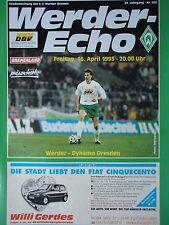 Program 1992/93 Sv Werder Bremen - Dynamo Dresden