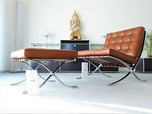 Knoll International Barcelona Chair + Hocker, Relax Version, Mies v.d. Rohe, NEU