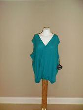 AVA&VIV women's plus Wrap Front sleeveless Top V-neck Hi-low hem Teal 4X(28/30w)