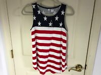 Woman's Old Navy size XS sleeveless red, white, blue rayon round neck top