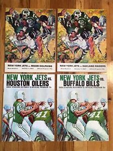 4-Different 1967 NY Jets vs Miami, Houston, Buffalo, Oakland AFL Programs