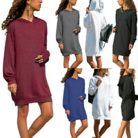 Fashion Women Long Sleeve Solid Casual Hooded Sweatshirt Pullover Tops Blouse