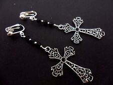 A PAIR OF LONG DANGLY TIBETAN SILVER CROSS BLACK CRYSTAL CLIP ON  EARRINGS. NEW.