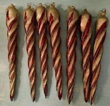 "Lot 7 KURT S ADLER Vintage Spiral Icicle Gold Glitter Red 11"" Christmas Ornament"
