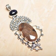 "Handmade Dendritic Tree Natural Agate 925 Sterling Silver Pendant 4"" #P15549"