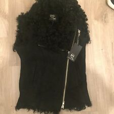 Alexander McQueen MCQ BNWT Black Suede Leather Shearling Gilet £1100+ 42 10
