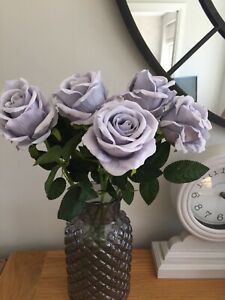 Artificial Faux flowers Grey Roses X 5 Long Stems Luxury Quality