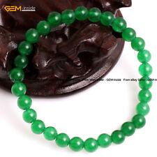 "Green Jade Gemstone Beaded Fashion Jewelry Elastic Bracelet 7.5"" Christmas Gift"