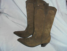 LELO BY GYD WOMEN BROWN SUEDE LEATHER MID KNEE COW BOOT  SIZE UK 4 EU 37 VGC