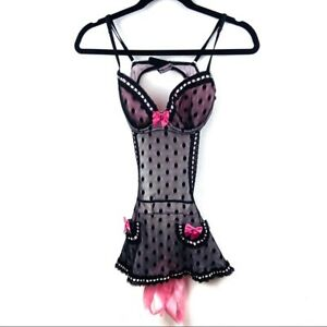 VS Polka Dot Bow Mesh Teddy Dress size 34C
