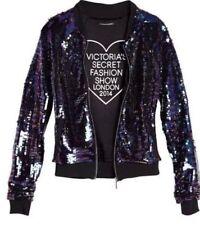 NWT Victoria Secret VS Pink Fashion Show Black Sequin Bling Bomber Jacket M NEW