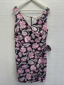 Boden pink and white floral leaf linen dress uk 16 ladies fashion clothing