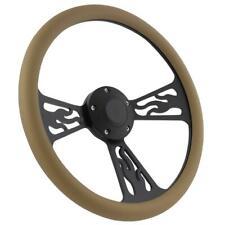 Black Flamed & Tan Vinyl Steering Wheel & Adapter Kit 1970 - 1977 Ford Cars