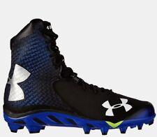 $150 Under Armour UA Spine Brawler Football Cleats Shoes Black Royal Blue 10.5