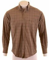 TIMBERLAND Mens Shirt Medium Khaki Check Cotton Loose Fit  W212