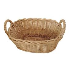 Natural Wicker Bread Baquette Basket Food Serving Oblong Storage Display Tray