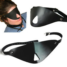 Black Faux Leather Blindfold Adjustable Black-Out Eye Sleep Mask w/Open Nose