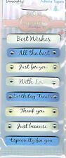SENTIMENTS/WORDS -   8  ADHESIVE TOPPERS IN BLUES & CREAM WITH DIAMANTE DETAIL