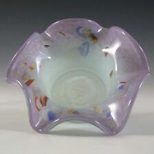 More details for vasart or strathearn purple & green mottled glass bowl b021