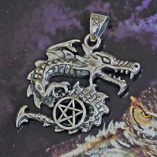 Peter Stone Drache Schutzamulett 925 Silber Pentagramm Anhänger Glücksdrache