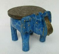 Handcrafted Wooden Brass Fitted Small Elephant Stool Home Decor India Art