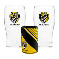 AFL Pint Glasses Set of 2 and Can Cooler Richmond Tigers -