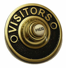 """Solid Polished 3"""" Brass Visitors Round Victorian Door Bell Push Switch (PB1421)"""