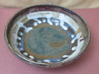 """Pottery bowl 7"""" Fun and funky multicolored Signed"""