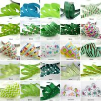 "25x1Yard Assorted Satin Grosgrain Ribbon Lot 3/8""--1.5"" Green Theme Craft Bow-B"