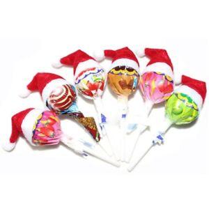 60pcs Christmas Mini Lollipop Lollypop Santa Claus Hat Cap Wrap Xmas Decor