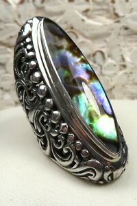 STUNNING BALI ABALONE AND ORNATE STERLING SILVER RING SZ 5