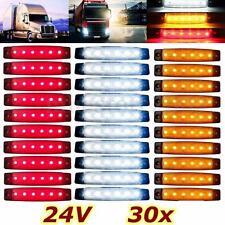 30x 24V 6 LED Red White Yellow Side Marker Indicators Light Truck Trailer Bus