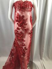 Bridal Fabric - Red Lace 3d Flower-floral Embroidered Mesh Beaded by The Yard