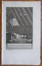 J. de la Fontaine: Fable Original Engraving Cat and Mouse  - 1786