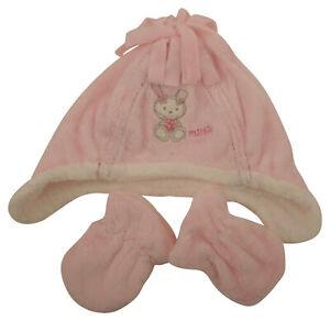 Ex-Store Baby Girls Soft Fleece Hat & Mittens Set