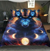 Hot 3D Dreamcatcher Moon Wolf Bedding Set Duvet Cover Comforter Cover PillowCase