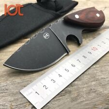Hunting Knife Survival Fixed Blade Serrated Toothed Outdoor Mini Pocket Tactical