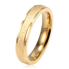 New Fashion Womens 24K Gold Filled Scrub Bands Ring Size 6 7 8 9 Free Shipping