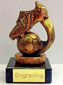 Golden Football 3D Trophy & FREE LASER Engraving + FREE P&P