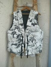 Vintage Dion Western Wild Horses Black White Lined Vest Conchos L $80 New