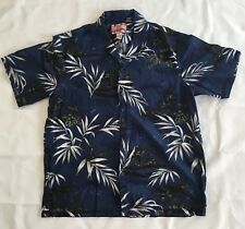 RJC Mens Hawaiian Button Front Shirt Large Floral Leaves Trees Blue White Green