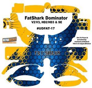 Fatshark Dominator V2 V3 HD2 HD3 Skin Wrap Aufkleber Fat Shark Blau Gelb Wabe