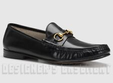 GUCCI men 8 black leather 1953 ROOS gold HORSEBIT Loafers shoes NIB Authent $690