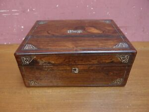ANTIQUE VICTORIAN ROSEWOOD INLAID MOTHER of PEARL JEWELLERY BOX RESTORATION PROJ